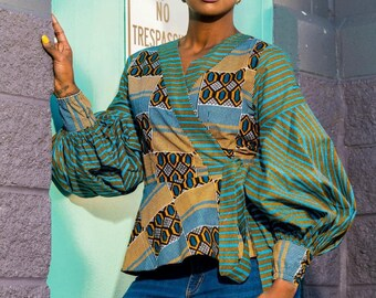 Statement Sleeve Silk Ankara Mixed Print Peplum Blouse Mothers Day Wrap Top African Fabric