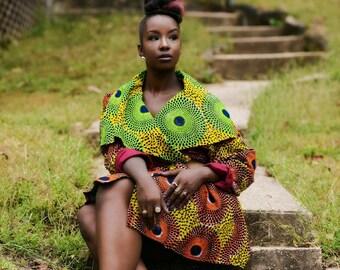 African print wrap coat // African Print Wrap Coat Dress // African clothing // Cotton Wrap Coat // Knee Length Coat // THE WRAP