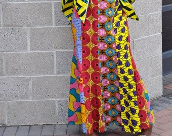 Ariel Mixed Print Maxi Skirt with Elastic or Drawstring Waist Ankara Skirt African Fabric Long Mermaid Skirt