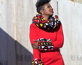 Bodycon Stretch Dress with Ankara Print Melon Sleeves Lady Day Holiday Party Dress Tribal Print