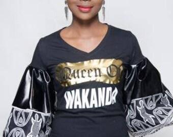 Queen Lady Vee Tee Gold Dust Tribal Print & Vegan Leather Ruffle Sleeves