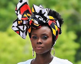 Royal Angolan Tribal Print Head Wrap Gift Idea Mom Women Turban Fashion  Holiday Fashion Scarf Mothers Day Gift For Mom