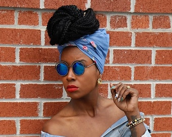 Adorned Embroidered Denim  Jean Head Wrap Gift Idea Mom Women Turban Fashion  Holiday Fashion Scarf Mothers Day Gift For Mom