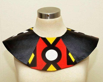 Unisex Nubian Collar vegan leather Ankara adjustable collar epaulette Black History Month, dance group, Cosplay Panther Wearable Art