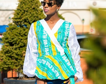 Statement Sleeve Turquoise  Ankara & Lace  Peplum Wrap Blouse Mothers Day Wrap Top African Fabric
