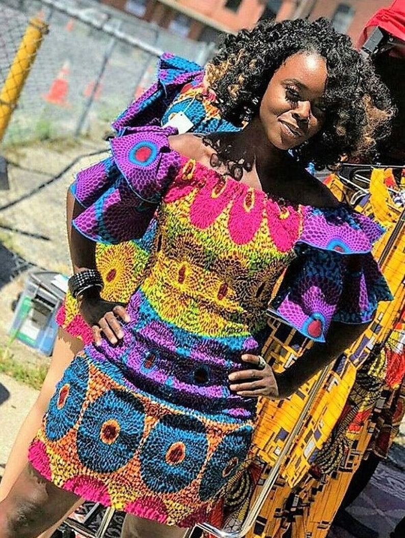 Tribal Print Cold Shoulder Dress Mixed Print Ankara Fabric image 0