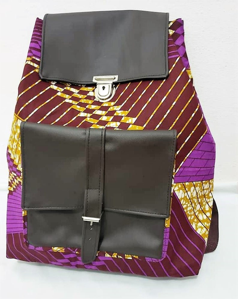 Ankara Vegan leather backpack Weekend bag Travel backpack image 0