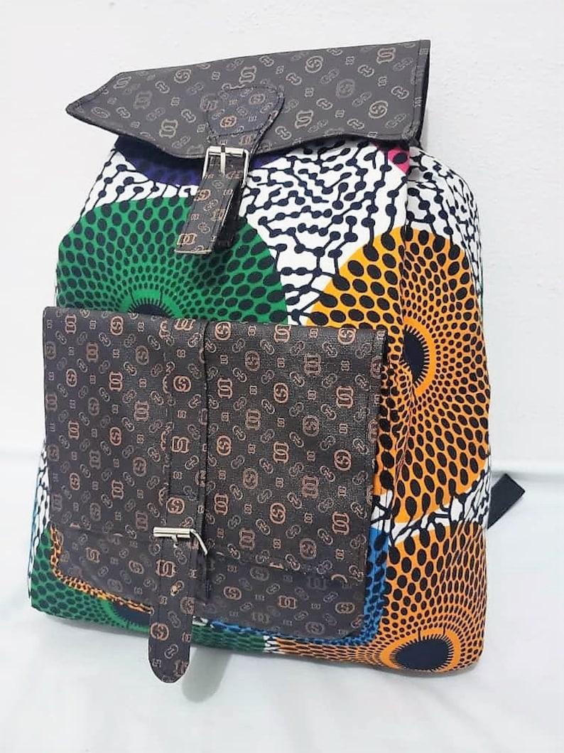 Ankara Vegan leather backpack Weekend bag Travel backpack image 0
