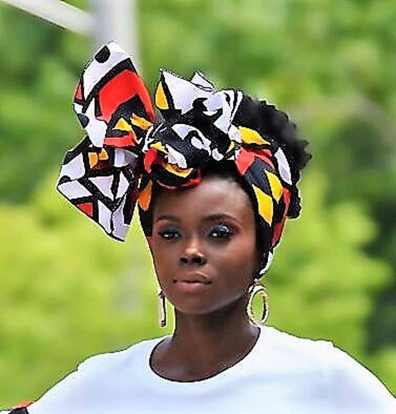 Royal Angolan Tribal Print Head Wrap Gift Idea Mom Women image 0