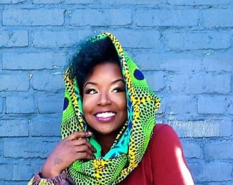 Multicolor More Prints Ankara & Fleece Infinity Scarf  -  Unisex Reversible Foulard d'hiver -  African Pagne Winter Scarf