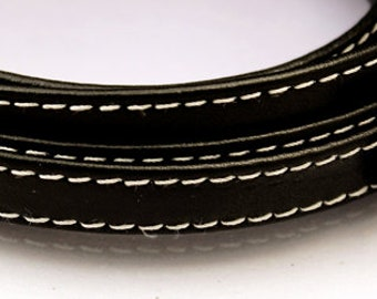 1 ft Black leather strap 10x2mm Black flat leather cord Black leather string Black leather strip BLFLAT10X2