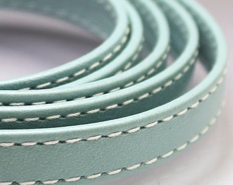 Turquoise leather strap 10x2mm Light blue flat leather cord Leather string Stitched leather strip 10mm 10 mm Leather string  TURFL10X2