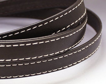 Dark brown leather strap 10x2mm Brown flat leather cord Leather string Stitched leather strip 10mm 10 mm Leather string  BRFL10X2