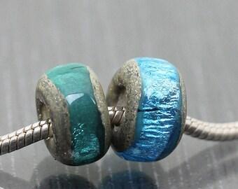 Green lampwork beads handmade lampwork bead pair big hole beads bhb lhb ready to ship Sea Rocks Londez SRA 2 teal blue large hole beads