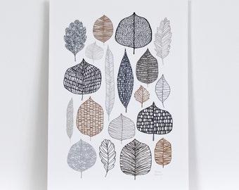 New Leaves Multi - Leaf print, nature print