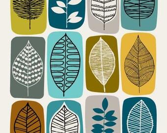 Leaf Blocks Green, giclee print
