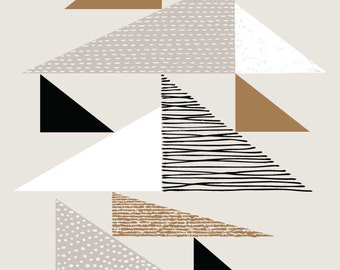 Tapestry Triangles Natural, giclee print