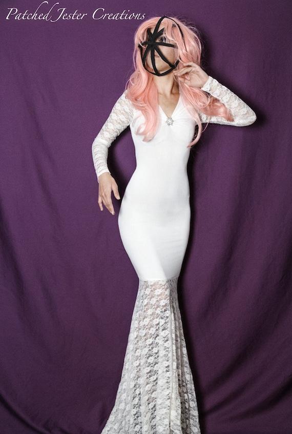 Steampunk Gothic Dress Halloween Dress Mermaid Dress Lace Gown Winter Dress Wedding Dress