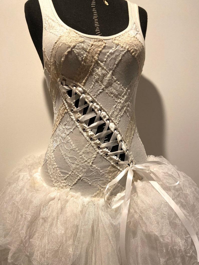White Corset Dress Boho Dress Gothic Cute Whimsical Shabby Chic