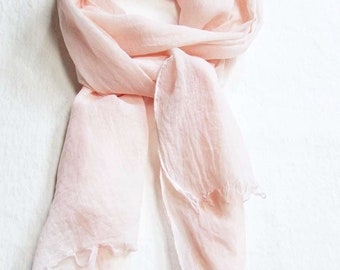 Blush Scarf, 100% Cotton Scarf, Hand Painted Scarf, Summer Scarf, Hand Dyed Scarf, Blush Beach Scarf, All Cotton Scarf, Pale Pink Scarf