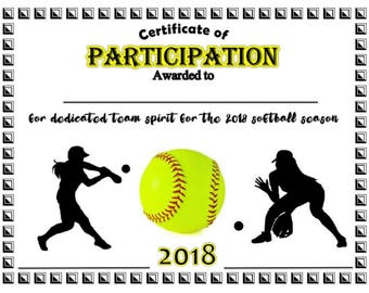Superior Item#017   2018 Softball Sports Certificate   Digital Download