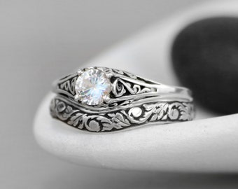 Dainty White Sapphire Engagement Ring & Floral Fitted Band - Sterling Silver Filigree Engagement Ring Set - Nature-Inspired Wedding Ring Set