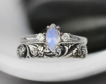 Marquise Moonstone Engagement Ring and Wildflower Wedding Band, Sterling Silver Flower Wedding Ring Set   Moonkist Designs