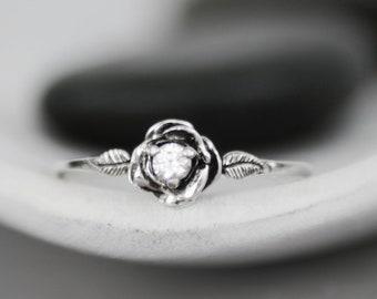 Rose White Sapphire Engagement Ring - Sterling Silver Alternative Engagement - Nature-Inspired Promise Ring - White Gemstone Flower Ring