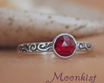 Dainty Promise Ring for Her - Sterling Silver Rose Cut Gemstone Ring - Vintage Style Birthstone Ring - Bezel Set Stack Ring - Arabesque Ring