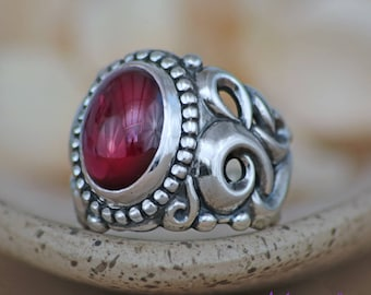 Garnet Mens Ring - Sterling Silver Oval Statement Ring - Mans Promise Ring - Nature-Inspired Gemstone Ring - January Birthstone Ring