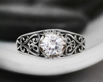 Vintage-Inspired Filigree Bridal Ring - Sterling Silver White Sapphire Engagement Ring - Antique-Style Wedding Ring - Alternative Engagement