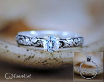 Vintage-Style White Sapphire Engagement Ring - Sterling Silver Nature-Inspired Proposal Ring - Vine Solitaire Ring - Floral Wedding Ring