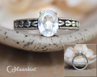 Oval White Sapphire Engagement Ring, Sterling Silver Nature-Inspired Leaf Engagement Ring, Alternative Engagement Ring, Oval Wedding Ring