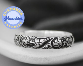 Wildflower Wedding Ring, Sterling Silver Floral Wedding Band, Botanical Ring, Nature Inspired Ring for Women | Moonkist Designs