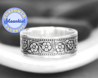 Botanical Band Ring, Sterling Silver Blossom Wedding Band, Daisy Pattern Ring, Womans Wedding Ring   Moonkist Designs