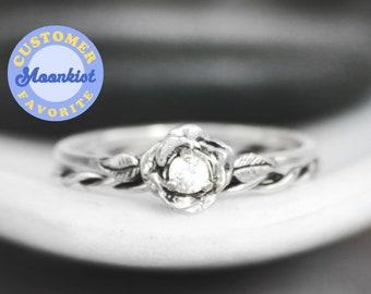 White Sapphire Rose Engagement Ring Set & Twist Ring, Sterling Silver Rose Bridal Set, Stacking Wedding Ring Set | Moonkist Designs