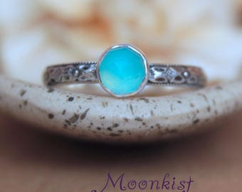 Blue Chalcedony Promise Ring - Sterling Silver Blue Chalcedony Ring - Blue Silver Ring - May Birthstone Jewelry - Stacking Birthstone Ring