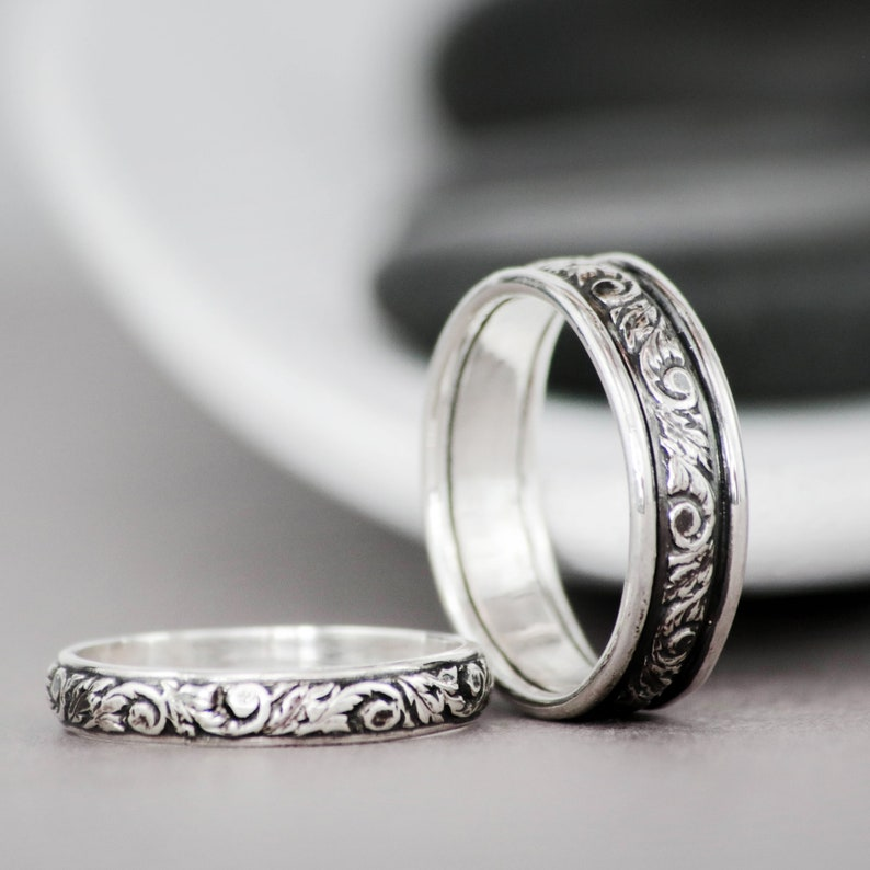 Sterling Silver Wedding Sets.Floral Ring Set Sterling Silver Wedding Set Nature Inspired Vine Wedding Band Set His And Her Wedding Ring Set Matching Couple Rings
