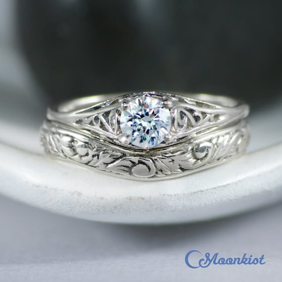 White Gold Filigree Engagement Ring Set With Curved Band Etsy