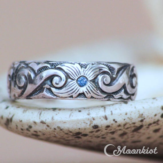 Celestial Bands: Celestial Wedding Band With Tiny Gemstone Sterling Silver