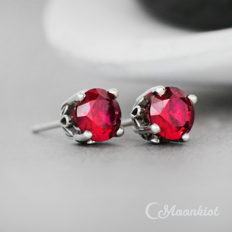 16619d923 Ruby Stud Earrings Sterling Silver Ruby Earring Ruby Post | Etsy