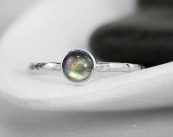 Labradorite Promise Ring - Sterling Silver Labradorite Ring - Labradorite Jewelry - Sagittarius Birthstone Jewelry -Stacking Birthstone Ring