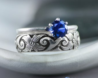 Sapphire Engagement Ring with Wide Band Ring, Sterling Silver Solitaire Engagement Set, Blue Sapphire Wedding Ring Set