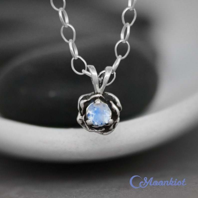 Moonkist Designs Sterling Silver Moonstone Necklace Rainbow Moonstone Layering Necklace Moonstone Pendant Dainty Flower Necklace