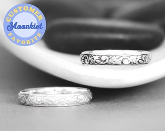 Nature Inspired Wedding Ring, Sterling Silver Womens Wedding Band, Floral Engraved Band Ring, Botanical Ring   Moonkist Designs