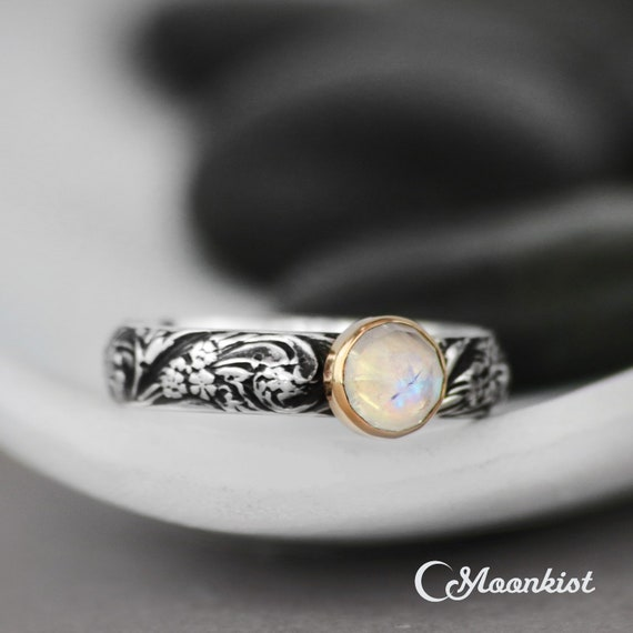 Sterling Silver /& 14K Gold Accent Polished Moonstone Stackable Ring Sz 5-10