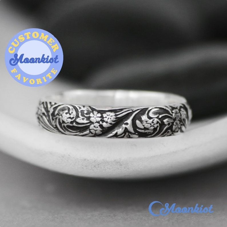Wildflower Wedding Ring, Sterling Silver Floral Wedding Band, Botanical Ring, Nature Inspired Ring for Women   Moonkist Designs