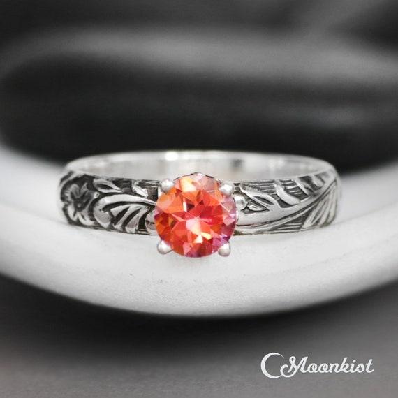 Anastasia Topaz Botanical Ring Set Sterling Silver Solitaire Engagement Ring /& Flower Wedding Ring Set Nature-Inspired Band Ring Set