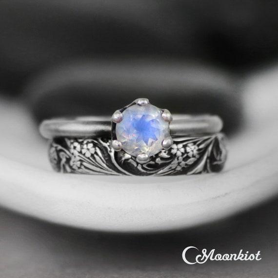 Rainbow Moonstone Engagement Ring Set Wildflower Band Ring Etsy