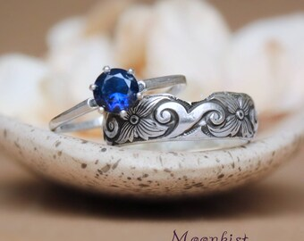 Classic Sapphire Engagement Ring Set with Fitted Band Ring - Sterling Silver Solitaire Engagement Set - Flourish Stacking Wedding Ring Set